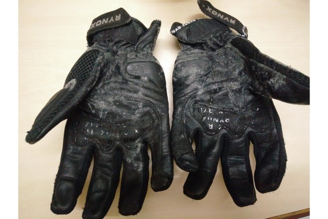 Leather Gloves with Fungus Growth - Spine Tourer