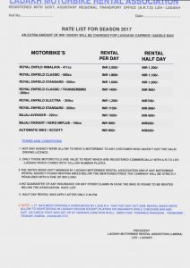Official Leh Ladakh Bike Rental Price List 2018 | SpineTourer